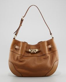 Medium Leather Shoulder Hobo Bag, Camel