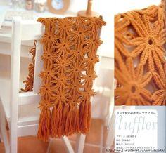 Crochet flower motif scarf pattern from a Japanese craft book.