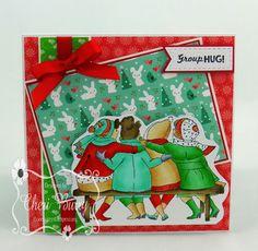 Art Impressions Rubber Stamps: Ai Girlfriends: Bench Set (Sku#4546) ... handmade Christmas/winter card.