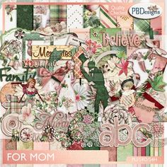 For Mom: a beautiful kit dedicated to my mother who passed a couple of years ago. With 26 papers and a full upper and lower case Alpha with common punctuation and 122 element that include masks, splatters, word art, and lots of love
