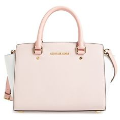 MICHAEL Michael Kors Medium Selma Tricolor Leather Satchel ($298) ❤ liked on Polyvore