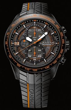 Graham Silverstone RS Endurance 12HR - this model only comes with one chronograph function and the traditional pushers at 2- and 4 o'clock positions. Powered by the calibre G1735 automatic chronograph movement, the casing on this watch is PVD coated. Read more in the article...