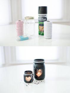 DIY Mason Jar Valentine's Day Candle Holder - vtemu.by - Decoración fácil para San Valentín