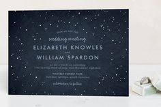 """Night In The Forest"" - Rustic Foil-pressed Wedding Invitations in Indigo by 2birdstone."