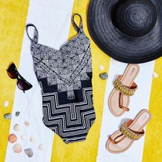 You'll be the hottest beach babe in our geometric printed one piece.