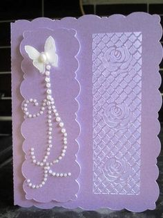 Lattice Rose Card MACHINE Cut Files on Craftsuprint designed by Rae Carr - made by Anne-marie wheeler - The file was cut on Craft Robo using lilac pearlised card then added lilac insert. Then added pearls and butterfly to front a very quick and easy card but very effective. - Now available for download!
