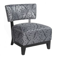 Transitional slipper chair with glitter fabric