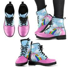 Features eco-friendly material with a double-sided print and rounded toe construction. Lace-up closure for a snug fit. Soft textile lining with sturdy construction for maximum comfort. High-quality rubber outsole for traction and exceptional durability. Leather Men, Leather Boots, Cow Pattern, Pattern Print, Mens Boot, Pink Cow, Spring Boots, Heart Sunglasses, Popular Shoes