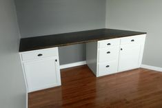 DIY Built-in Desk using kitchen cabinets after cutting off toe-kick.