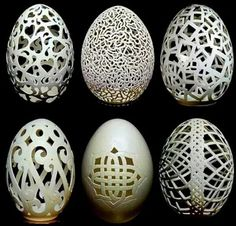 Elegant – These photos of gorgeous egg sculptures are created by Chinese artist, Wen Fuliang. Fragile – When Wen Fuliang was laid off from his job as a wood carver, he turned to this unusual and skillful form of art to make ends meet. Repurpose – He uses Carved Eggs, Art Carved, Egg Crafts, Easter Crafts, Art D'oeuf, Egg Shell Art, Dremel Carving, Dremel Projects, Egg Designs