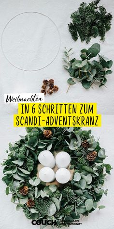 How to make your own DIY advent wreath in 6 . advent wreath yourself . - How to make your own DIY Advent wreath in 6 … Make your own advent wreath: liviabass shows y - Christmas Calendar, Kids Calendar, Christmas Time, Christmas Crafts, Christmas Decorations, Handmade Decorations, L Eucalyptus, Make Your Own, Make It Yourself