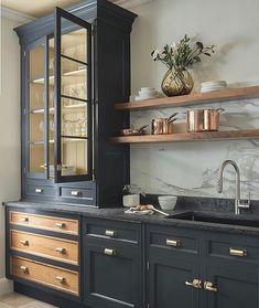 modern kitchen design with navy kitchen cabinets, black kitchen cabinets in modern farmhouse kitchen Dark Blue Kitchen Cabinets, Dark Blue Kitchens, Dark Cabinets, Black And Copper Kitchen, Tall Kitchen Cabinets, Modern Cabinets, Brown Painted Cabinets, Timeless Kitchen Cabinets, Kitchen Armoire