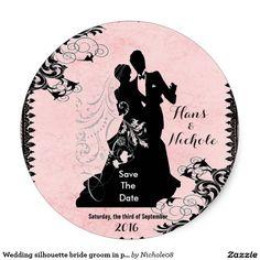 Wedding silhouette bride groom in pink monogram classic round sticker