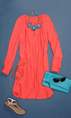 Brighten up mom's spring style with this coral Banana Republic dress (and some added cute accessories)!