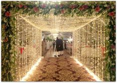 When you're looking for flower decorators in Hyderabad or Wedding Stage Decoration, choose the best professionals. Outdoor Wedding Entrance, Outdoor Wedding Backdrops, Wedding Walkway, Wedding Backdrop Design, Outdoor Indian Wedding, Desi Wedding Decor, Outdoor Wedding Decorations, Engagement Stage Decoration, Reception Stage Decor