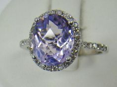 14K WHITE GOLD RING OVAL LIGHT PURPLE AMETHYST 1/4 CT TW DIAMOND 2.3g SIZE 6.75 #Statement