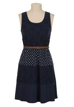 Belted Lace and Polka Dot Tank Dress available at #Maurices - This is such a cute dress...even more cute with the cropped navy bolero! And complete the look with matching sandles... http://www.maurices.com/product/index.jsp?productId=13256922