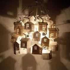DIY Paper Craft: Little Houses Chandelier Creative Home Decor Design via www.juxtapost.com