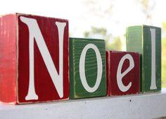 CUSTOM CHRISTMAS BLOCKS - Noel Sign - Whimsical Shelf Mantel - Last Name Personalized Gift - Wooden Letter Decor - Red White Green on Etsy, $22.00