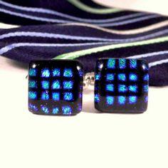Dichroic Glass Cufflinks, Checkered Pattern in Green Blue and Black   ResetarGlassArt - Jewelry on ArtFire