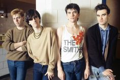 The Smiths backstage at University of Leicester, Leicester, England on February 16, 1984.