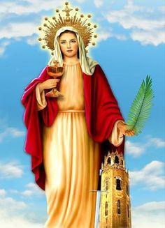 Bella obra artística que representa a Santa Bárbara Blessed Mother Mary, Mary Magdalene, The Secret History, Orisha, John The Baptist, Religious Art, Madonna, Christianity, Catholic