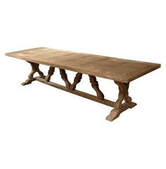 Hewn from reclaimed wood, this rustic farmhouse table is as warm and inviting as a family meal.  Traditional details create a base for fans of French Country , Gustavian, and other classic styles. This item is made to order, please allow up to 4 months for production.
