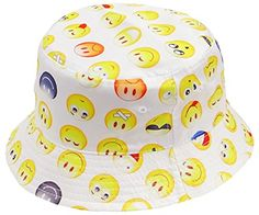 ba6124ef389 Buy Caps and Hats Smiley Emoji Faces Bucket Hat Unisex Adult One Size White
