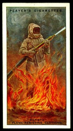 "Player's Cigarettes ""Firefighting Appliances"" (series of 50, 1930) No41 ""Mefisto"" Flame-Resistant Clothing"
