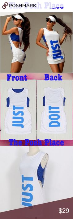 ✅ Just Do It! Cute & Sporty Two-Piece Ensemble! ✅ Just Do It! Cute & Sporty Two-Piece Ensemble! True to Size. Available in Medium and Large. Awesome for running errands or working out!  Tops