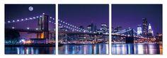 New York - Brooklyn Bridge at Night Mounted Art Print