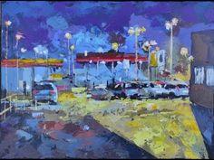 Gas Station, Acrylic Art, Facebook, Night, Canvas, Videos, Painting, Tela, Painting Art