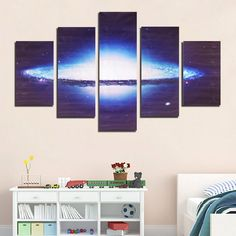 5 piezas de arte de la pared impresión de la lona sin marco universo nebulosa forma de decoración del hogar del cuadro