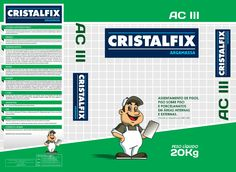 Arte da embalagem Argamassa Cristalfix.
