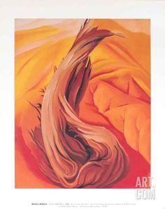 Stump on Red Hills Art Print by Georgia O'Keeffe at Art.com