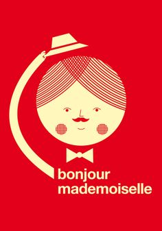 Love this one too. Bonjour mademoiselle red print. $30.00, via Etsy.