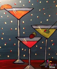 Paint Nite - a fun way to bring the creative side out for girls night out, date night, get-out-of-the-house night. Wine And Paint Night, Wine Painting, Painting Art, Body Painting, Wine And Canvas, Bar Art, Wine Art, Paint And Sip, Easy Paintings