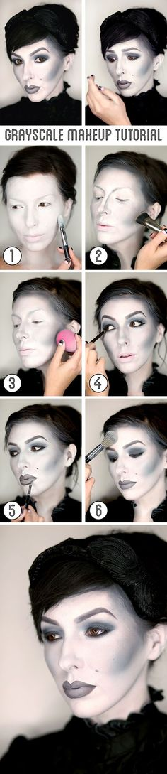 Keiko Lynn's grayscale makeup tutorial / black and white Halloween makeup.: