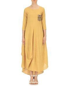 Purvi Doshi Yellow Khadi Solid Wrap Dress