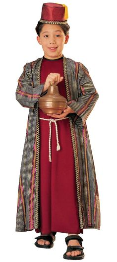 Travel with the Three Kings of the East for the Christmas nativity in our Deluxe Balthazar Kids Costume. Boys will be ready to walk in the ways of the biblical Arabian king of the Orient as sung about in the Christmas carol. Our kids Deluxe Balthazar Costume includes a burgundy red tunic featuring an attached silky lame striped robe with gold trim and attached rope belt cord and a matching tasseled fez hat with gold braided trim.