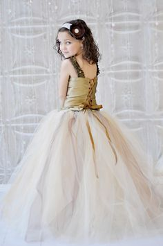 Tutu Dress, Vintage Champagne, Ivory, Gold and Brown tutu Skirt 215 usd adore this one