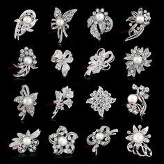 LOT 50 x Rhinestone Crystal Wedding Bridal Bouquet Silver Faux Pearl Brooch Pin #Handmade