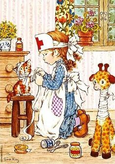 Holly Hobbie and Sarah Kay ruled in the late and early Diaries, stationary.even clothing got influenced by them. Sarah Key, Holly Hobbie, Mary May, Illustrations Vintage, Thomas Kinkade, Crazy Cat Lady, Vintage Cards, Vintage Children, Cute Art