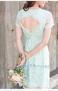Short Lace Mint Bridesmaid dress