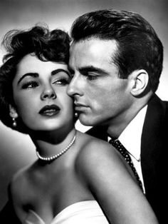 "Montgomery Clift and Elizabeth Taylor in a romantic publicity portrait  for ""A Place in the Sun"" 1951"