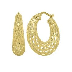 Endura Gold® Mesh Hoop Earrings in 14K Gold  available at #HelzbergDiamonds! Perfect for the Fall! #KaratGold #JewelryAddict #MIGM