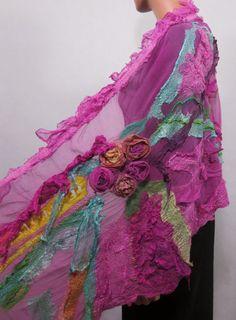 Nuno felted scarf Chunky Long Felt Scarf Textured by RaisaFelt