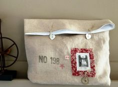 Linen pouch, vintage look, pious image, stamp print, vintage coin. - pinned by pin4etsy.com