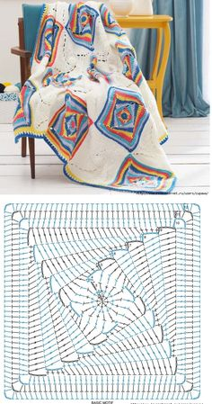 Discover thousands of images about Crochet motif chart patterncrochet square pattern Crochet Bedspread Patterns Part 17 - Beautiful Crochet Patterns and Knitting Patterns - Crochet Bedspread Patterns Part Granny Square Rose SThis Pin was discove Crochet Diy, Plaid Au Crochet, Beau Crochet, Crochet Home, Crochet Diagram, Crochet Chart, Crochet Motif, Crochet Granny, Blanket Crochet