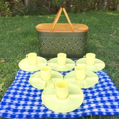 A personal favorite from my Etsy shop https://www.etsy.com/listing/279473282/picnic-basket-set-mid-century-picnic